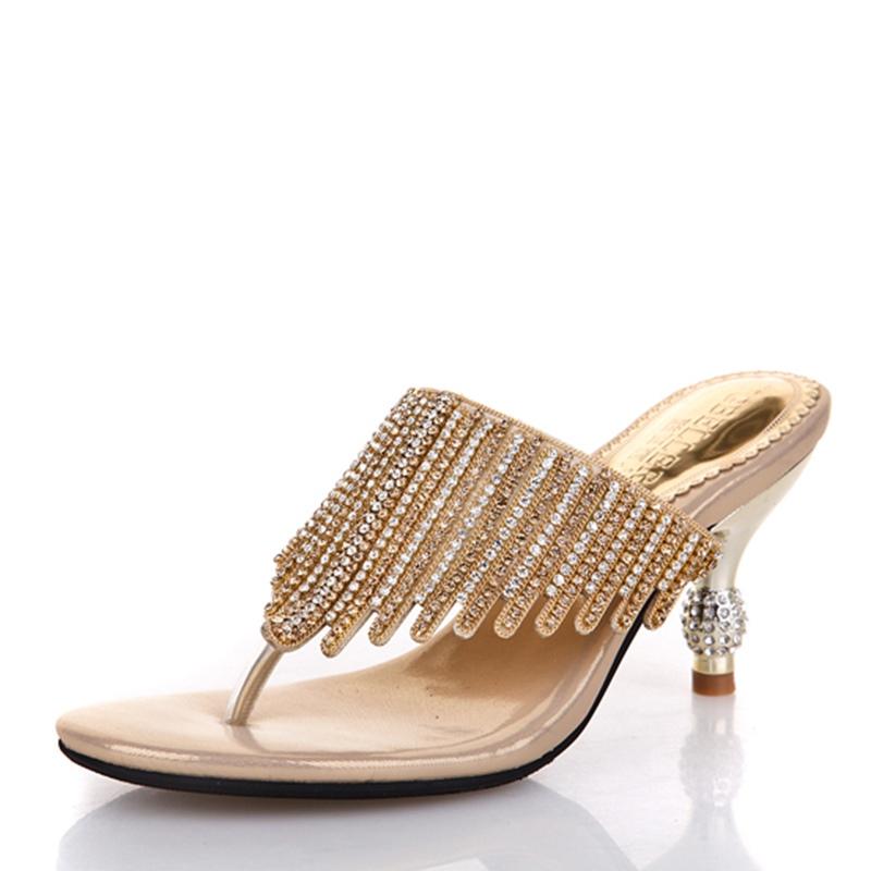 Ericdress Rhinestone Thong Slip-On Spool Heel Mules Shoes