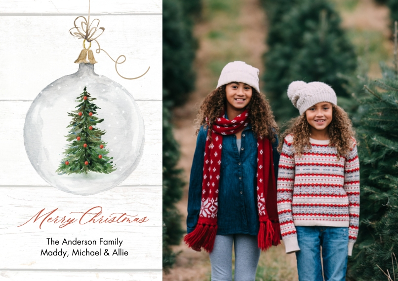 Christmas Photo Cards 5x7 Cards, Premium Cardstock 120lb, Card & Stationery -Christmas Ornament by Tumbalina