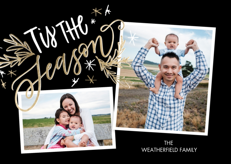 Christmas Photo Cards Flat Matte Photo Paper Cards with Envelopes, 5x7, Card & Stationery -Christmas Tis the Season Stars by Tumbalina