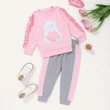 Toddler Girls Cartoon Patched Frill Sweatshirt & Joggers