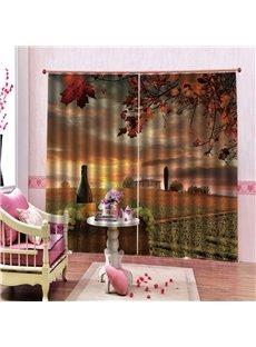 Autumn Theme Maple Leaves Country Cottage and Sunset Glow 3D Scenery Curtains