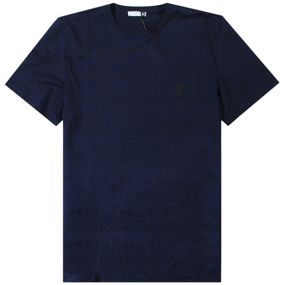 Versace Collection Scattered Logo Print T-Shirt Colour: NAVY, Size: EX