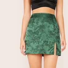 Floral Split Hem Jacquard Satin Skirt
