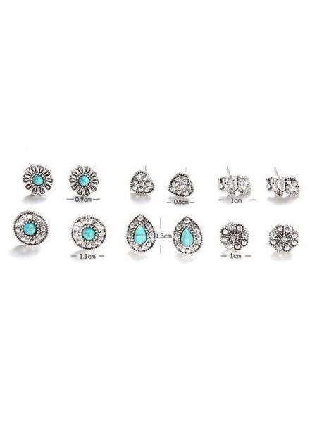 Milanoo Silver Stud Earrings Women Boho 6 Pieces Earrings Sets