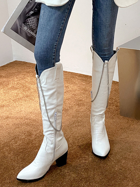 Milanoo Woman Knee-High Boots PU Leather Black Pointed Toe Metal Details Chunky Heel Knee Length Boots