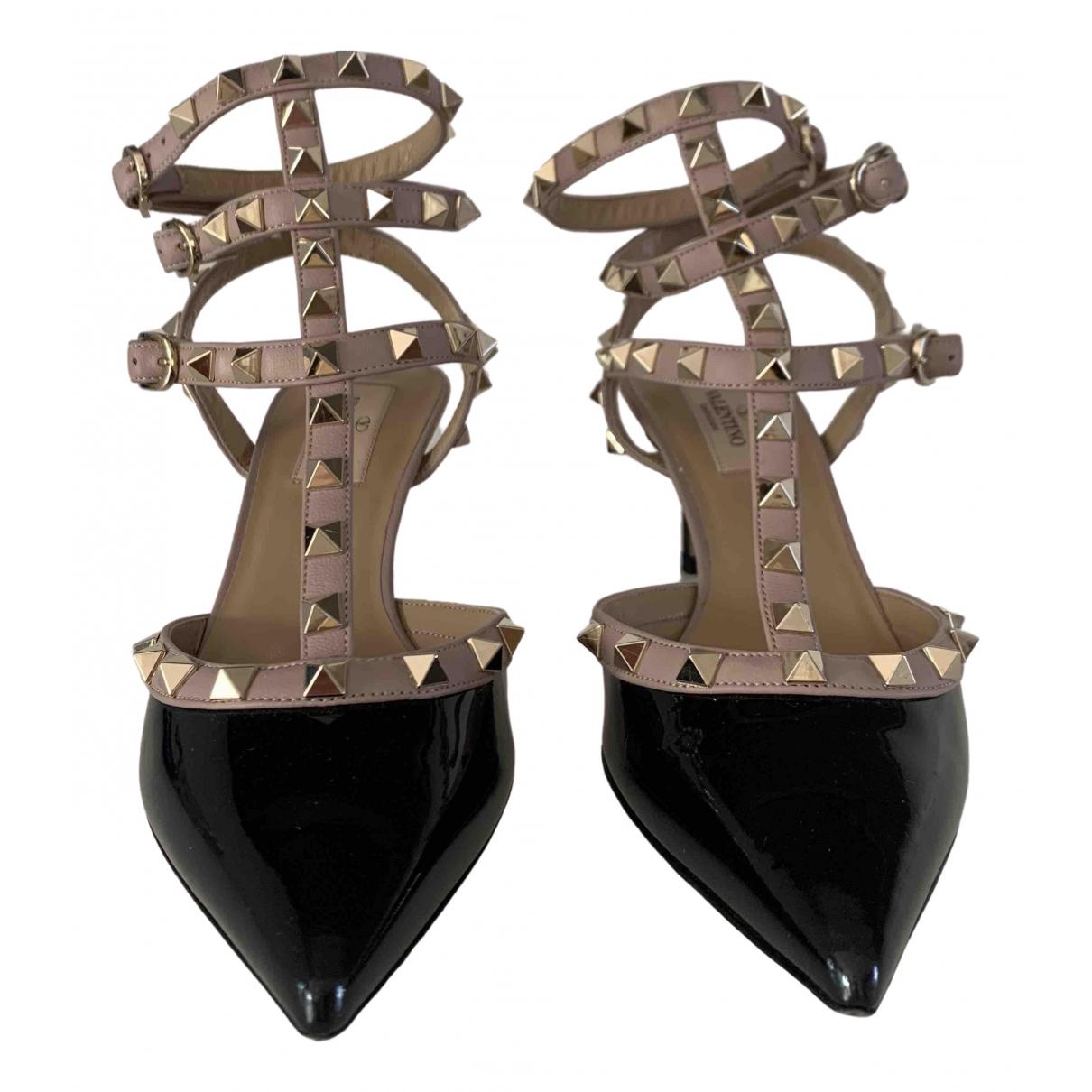 Valentino Garavani Rockstud Black Patent leather Heels for Women 37.5 IT
