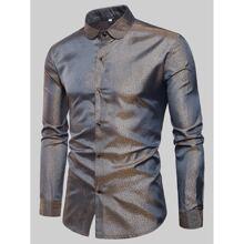 Men Gilding Button Through Shirt