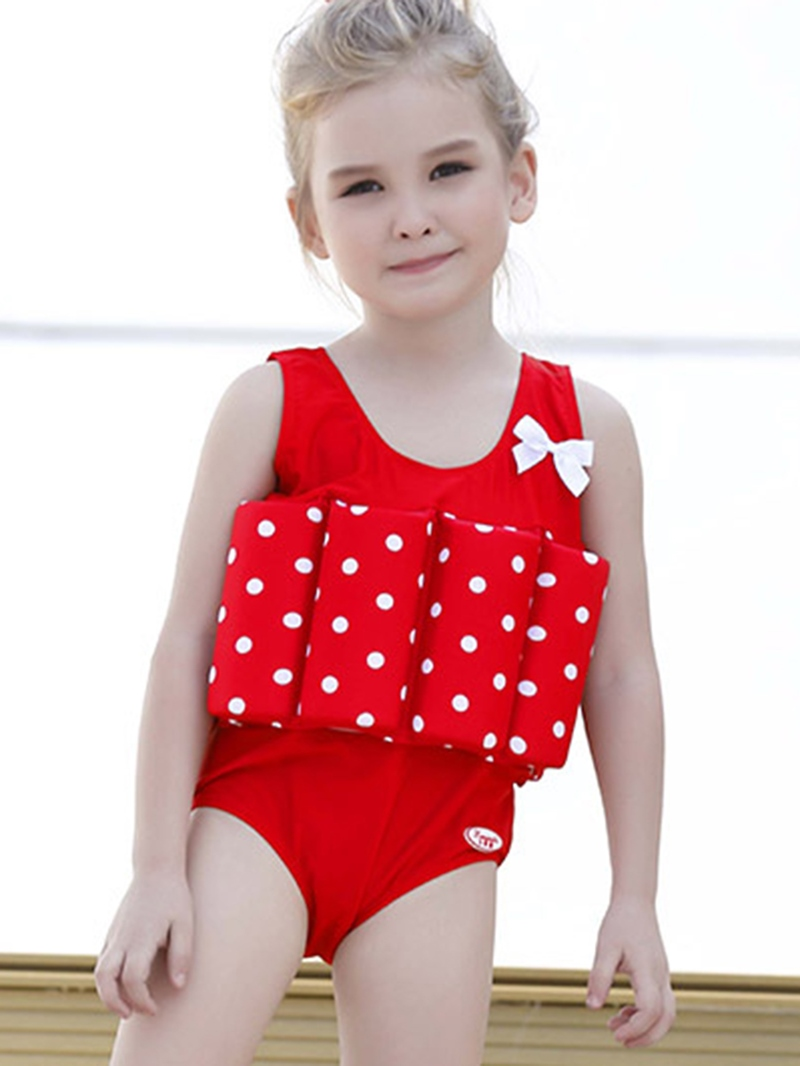 Ericdress Polka Dots One-Piece Bow Girls Buoyancy Swimsuit