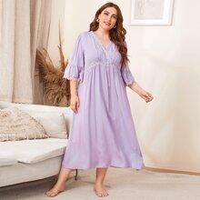 Plus Flounce Sleeve Lace Trim Smock Nightdress