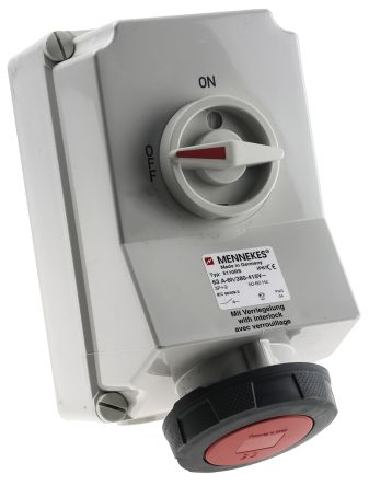 MENNEKES Switchable IP67 Industrial Interlock Socket 3P+E, Earthing Position 6h, 63A, 400 V, Red