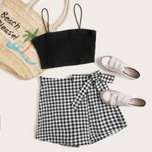 Solid Cami Top & Wrap Tie Side Gingham Skort Set