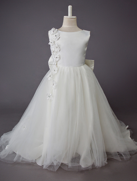 Milanoo Wedding Flower Girl Dress Kids Formal Party Dresses Lace Floor Length Princess Dress With Bow