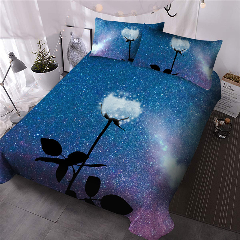 Creative Cloudy Rose under Starry Sky Reactive Printing Polyester Three-Piece Set Including 1 Comforter and 2 Pillowcases