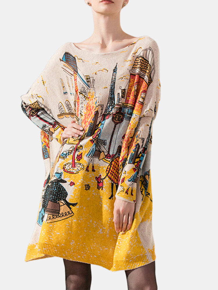 Casual Women Printed Long Sleeve O-Neck Knit Sweaters