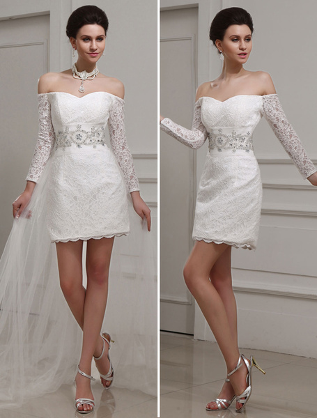 Milanoo Ivory Sheath Bateau Neck Beading Lace Bridal Wedding Gown
