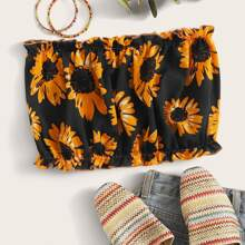Plus Floral Print Frill Tube Top