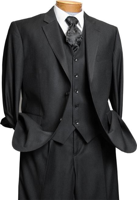Classic Mens 3 Piece Suit Black Tone on Tone Italian Design Cheap