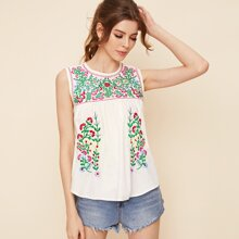Keyhole Back Floral Embroidered Blouse