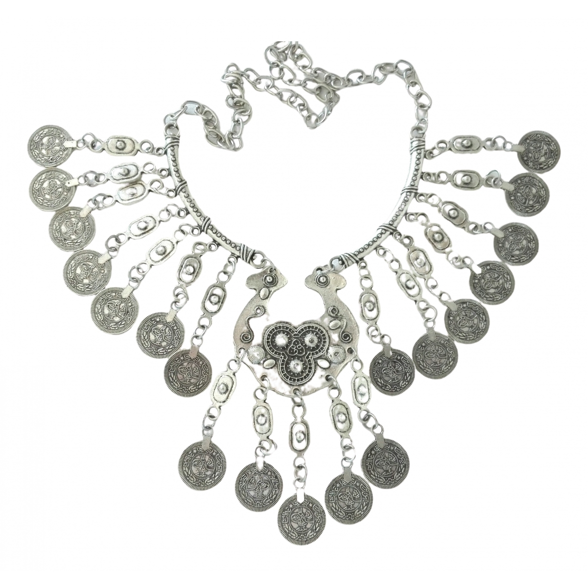 Non Signé / Unsigned Médailles Silver Metal necklace for Women \N