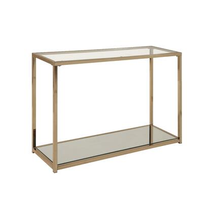 BM220303 Glass Top Sofa Table with Metal Frame and Open Shelf  Brass and