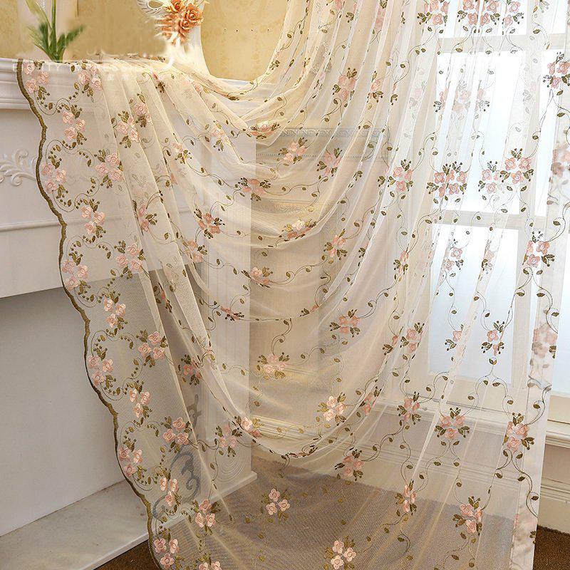 Fresh Pink Flowers and Green Leaves 2 Panels Living Room and Bedroom Sheer Curtain