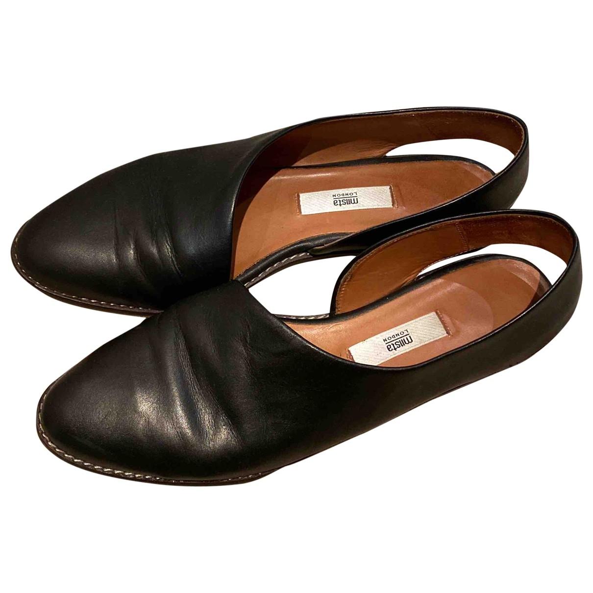 Miista \N Black Leather Mules & Clogs for Women 38.5 EU