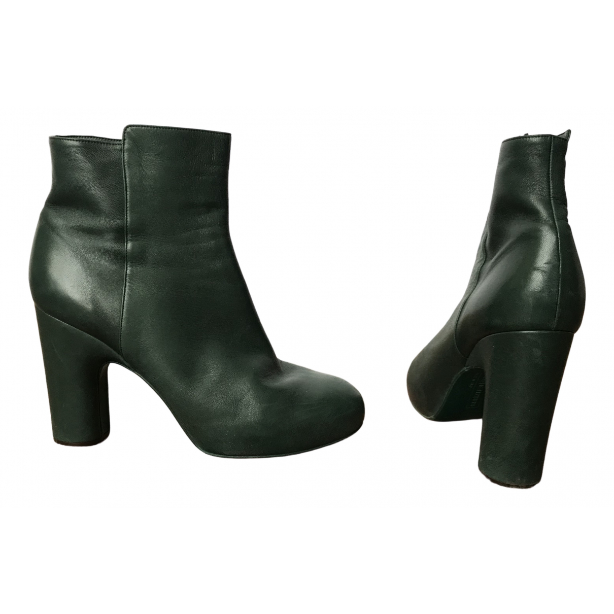 Véronique Branquinho \N Green Leather Ankle boots for Women 40 EU