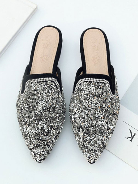 Milanoo Women Flat Mules Sequined Silver Pointed Toe Slip On Slide Shoes
