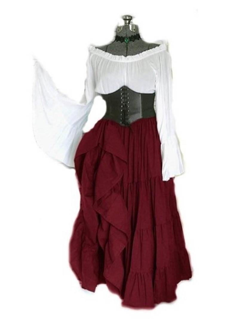 Ericdress Flare Sleeve Off Shoulder Patchwork Color Block Floor-Length Dress