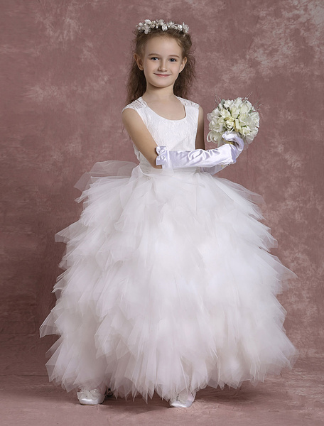 Milanoo Ivory Flower Girl Dresses Backless Tulle Ball Gown Toddler's Ankle Length Tutu Dinner Dress