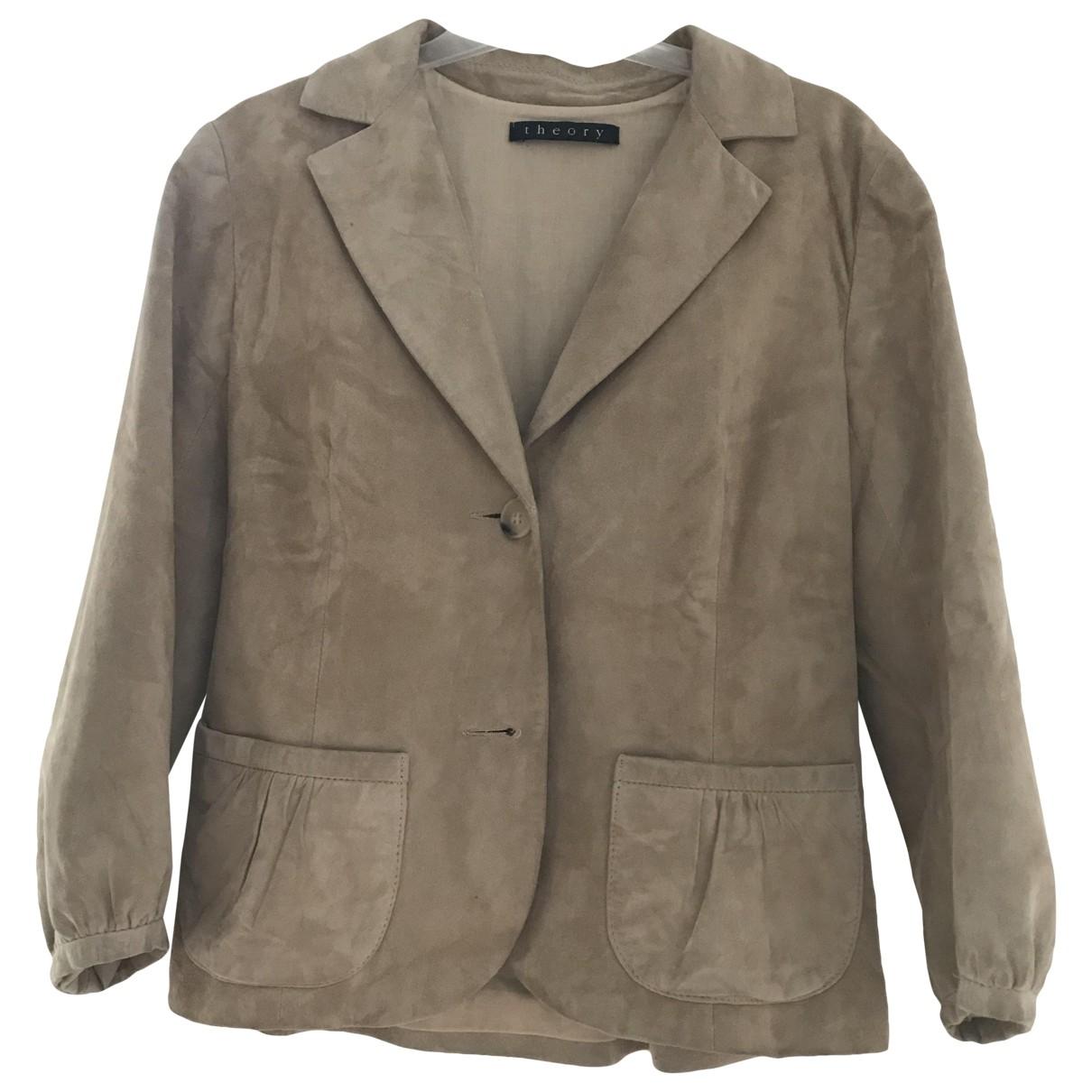 Theory \N Beige Suede jacket for Women 38 FR