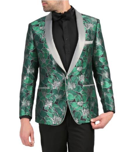 Mens Single Breasted Shawl Lapel Green Tuxedo Blazer