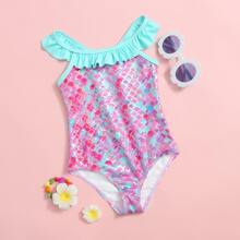 Toddler Girls Fish Scale Ruffle One Piece Swimsuit