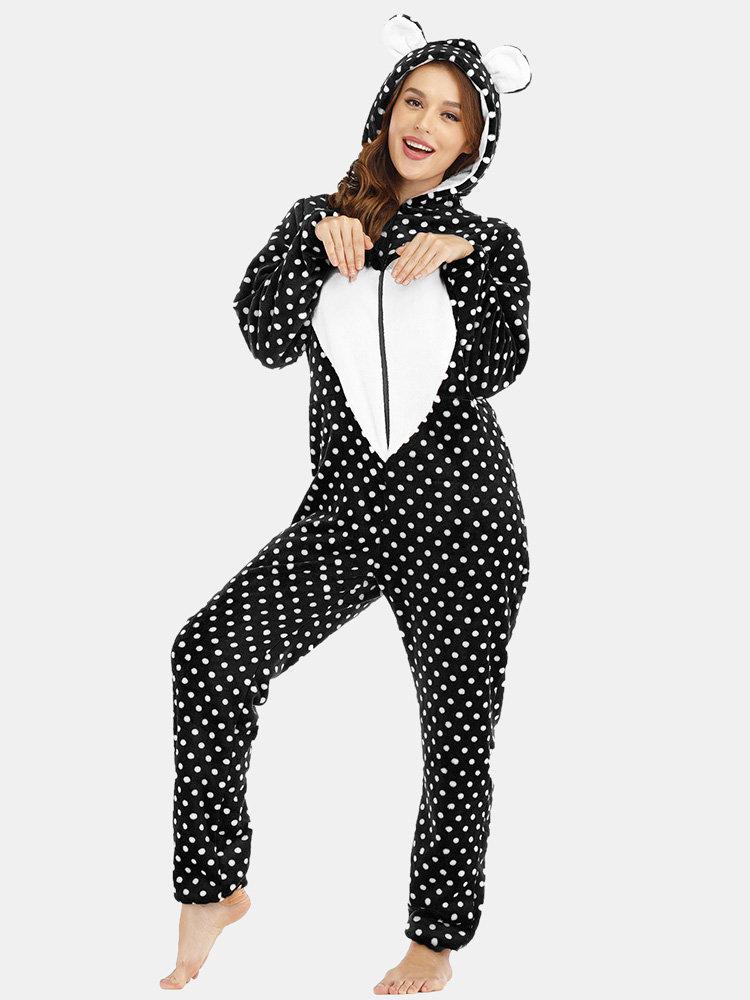 Plus Size Cute Flannels Onesies Pajamas Hooded Hearts Polka Dot Front Zipper Home Sleepwear
