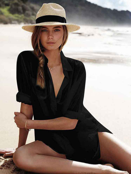 Milanoo Beach Cover Up White Shirt Oversized Dress Sheer Bathing Suit With Pockets