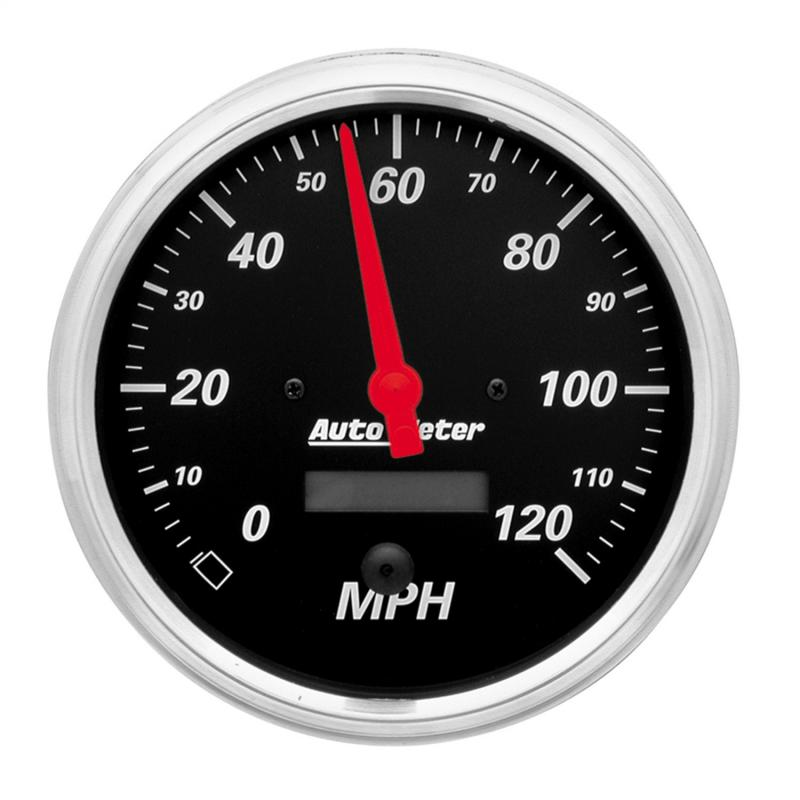 AutoMeter GAUGE; SPEEDOMETER; 5in.; 120MPH; ELEC. PROG. W/LCD ODO; DESIGNER BLACK