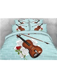 3D Violin and Music Score Digital Blue Wall Brick Printing Cotton 4-Piece Bedding Sets/Duvet Covers