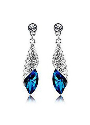 Mother's Day Gifts Silver Metal Blue Rhinestone Decorated Earrings - One Size