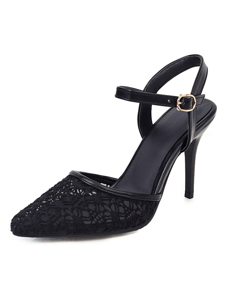 Milanoo High Heel Pumps Womens Nets Pointed Toe Slingback Stiletto Heel Pumps