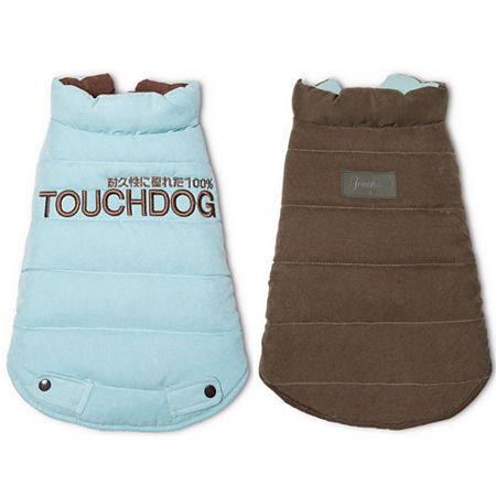 The Pet Life Touchdog Waggin Swag Reversible Insulated Pet Coat, One Size , Blue
