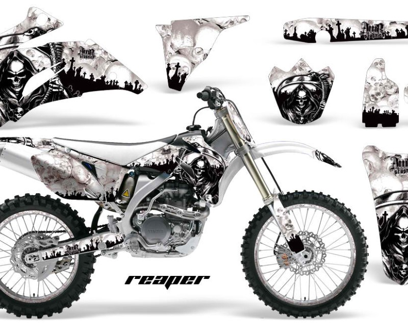 AMR Racing Graphics MX-NP-YAM-YZ250F-YZ450F-06-09-RP W Kit Decal Wrap + # Plates For Yamaha YZ250F YZ450F 2006-2009áREAPER WHITE