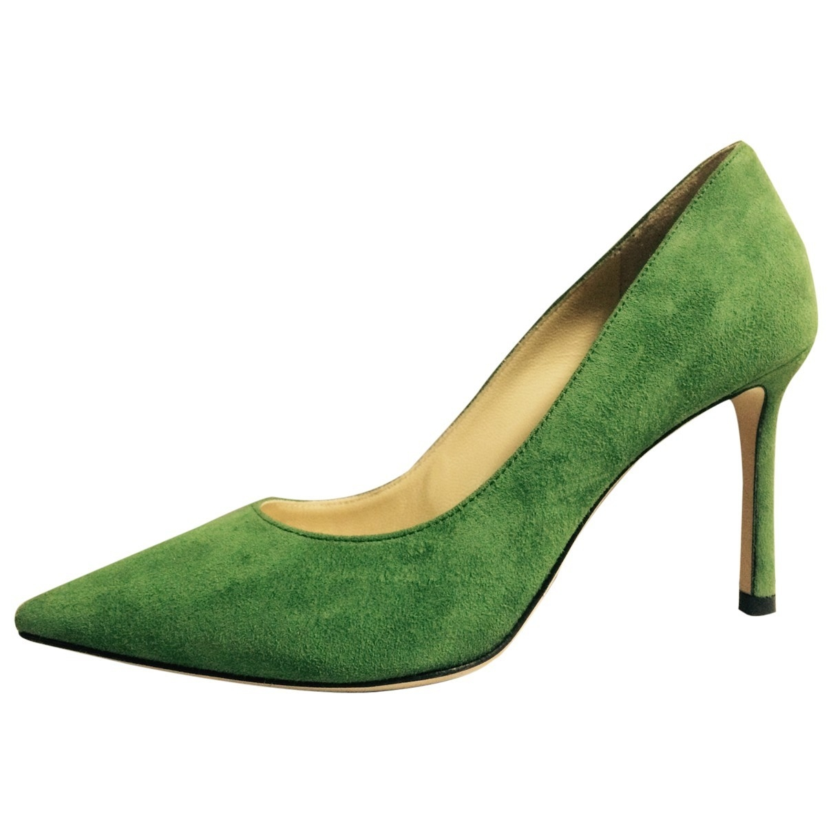 Jimmy Choo Romy Green Suede Heels for Women 34 EU