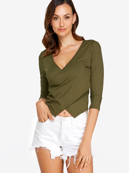 Yoins Army Green Crossed Front Design V-neck Long Sleeves T-shirts