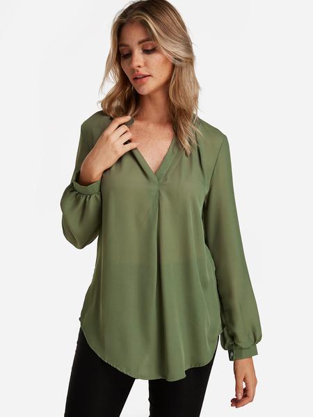 Yoins Army Green  Plain V-neck Button Design Long Sleeves Curve Hem Loose Shirt