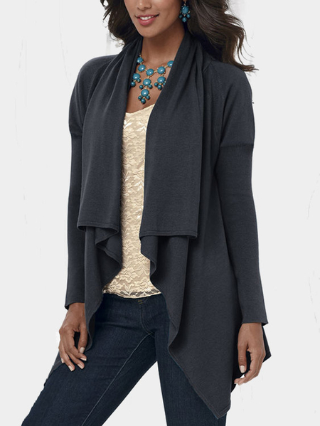Yoins Dark Grey Fashion Wrap Waterfall Cardigan