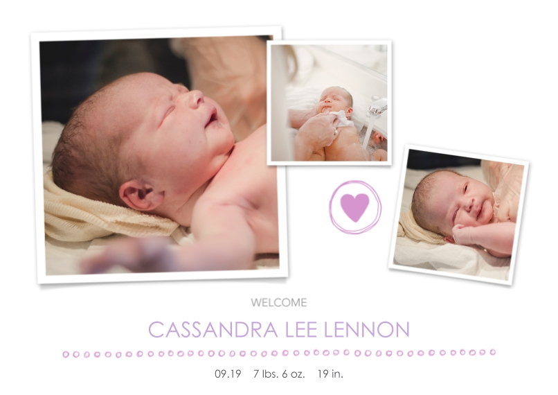 Newborn 5x7 Cards, Premium Cardstock 120lb with Scalloped Corners, Card & Stationery -Welcome, Girl