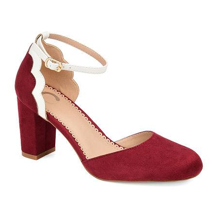 Journee Collection Womens Chandra Pumps Block Heel, 9 Medium, Red