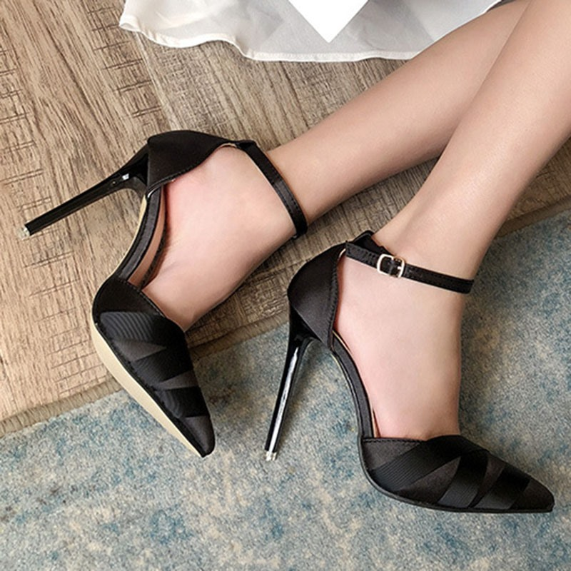 Ericdress Pointed Toe Stiletto Heel Ribbon Professional Thin Shoes