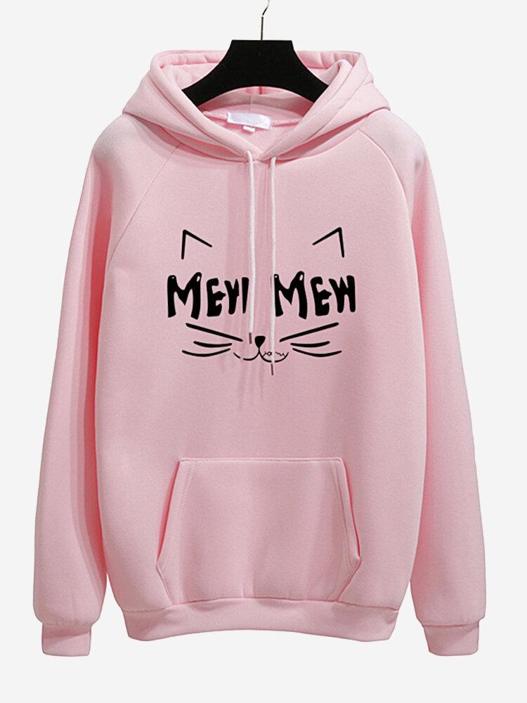 Casual Hooded Cat Printed Long Sleeve Sweatshirts
