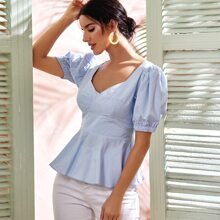 Solid Bow Back Babydoll Blouse